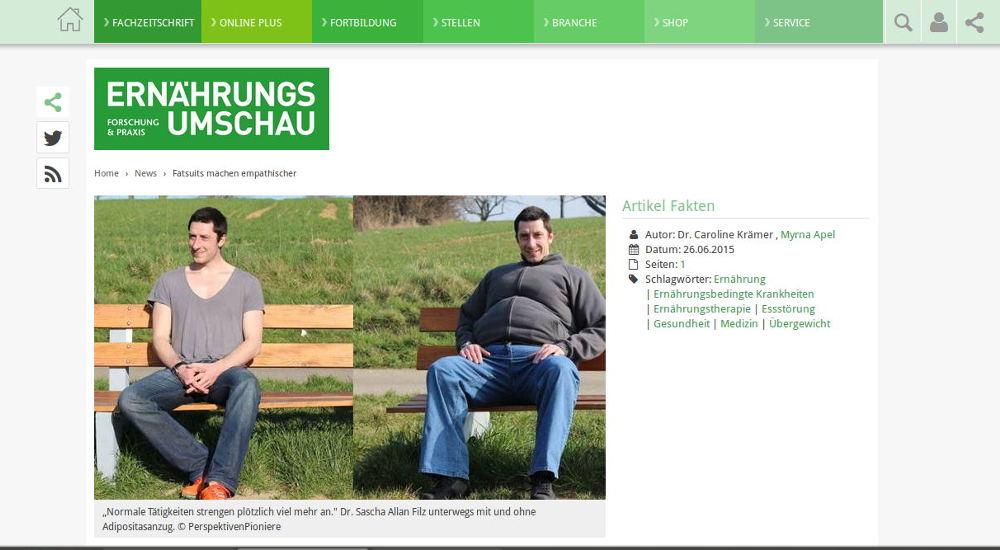 ERNÄHRUNGS UMSCHAU mit Beitrag zum Adipositasanzug