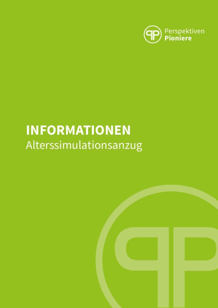 Infobroschüre Alterssimulationsanzug PerspektivenPioniere Deckblatt