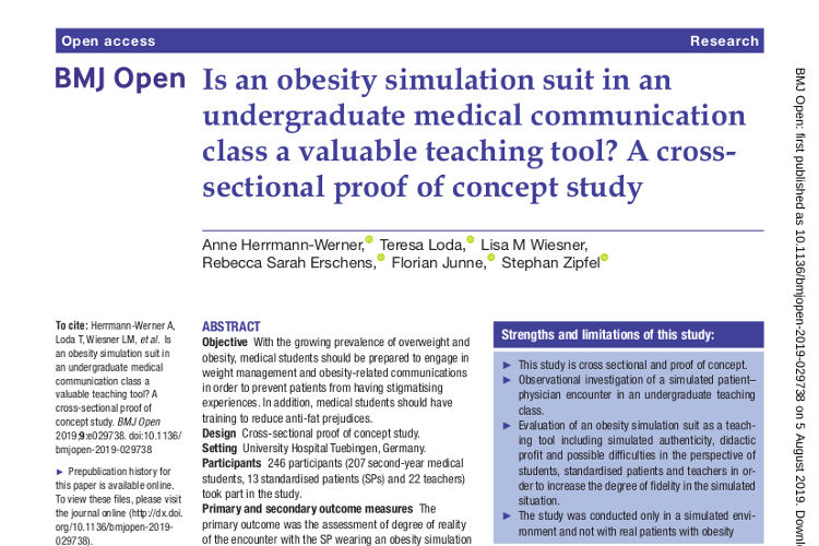 Studie Doclab Tübingen zum obesity simulation suit in BMJ OPen 2019